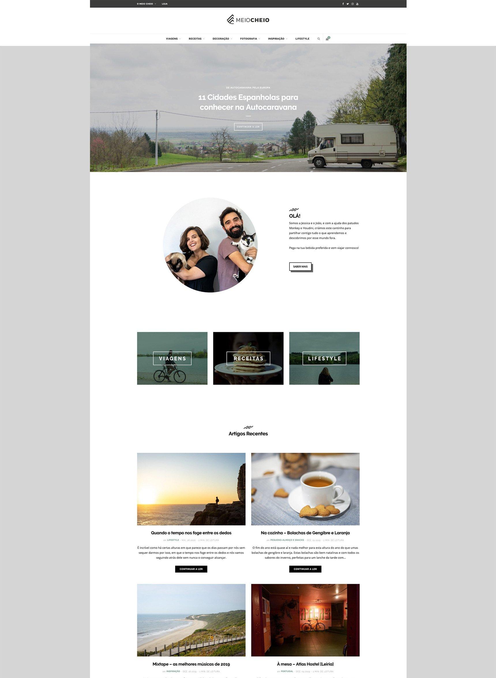 Homepage - Site de Viagens - Loja Online | Ecommerce | Meio Cheio